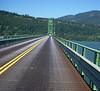 steel mesh bridge between Hood River OR and White Salmon WA over the Columbia River