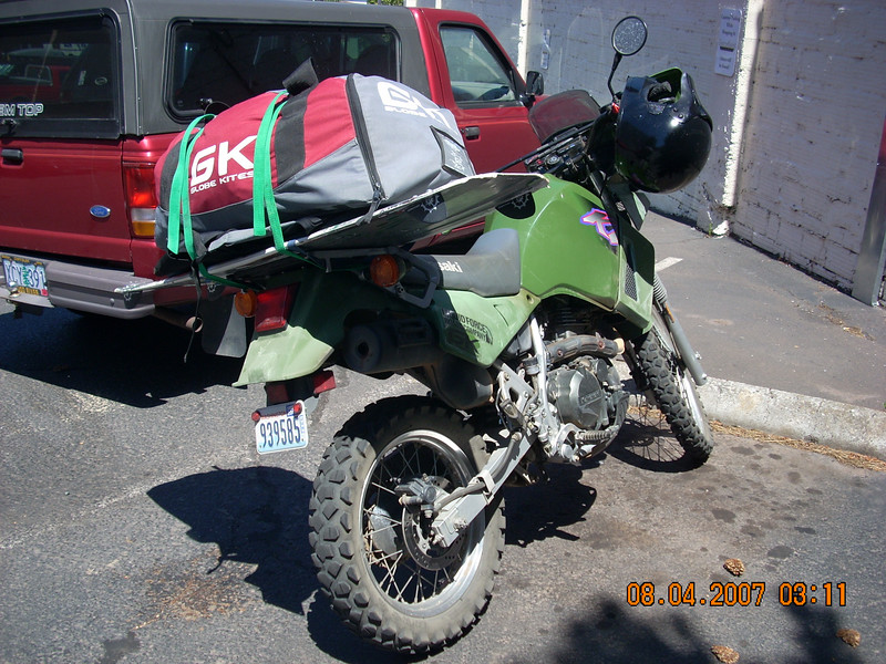 A KLR loaded for Para Sailing at Hood River