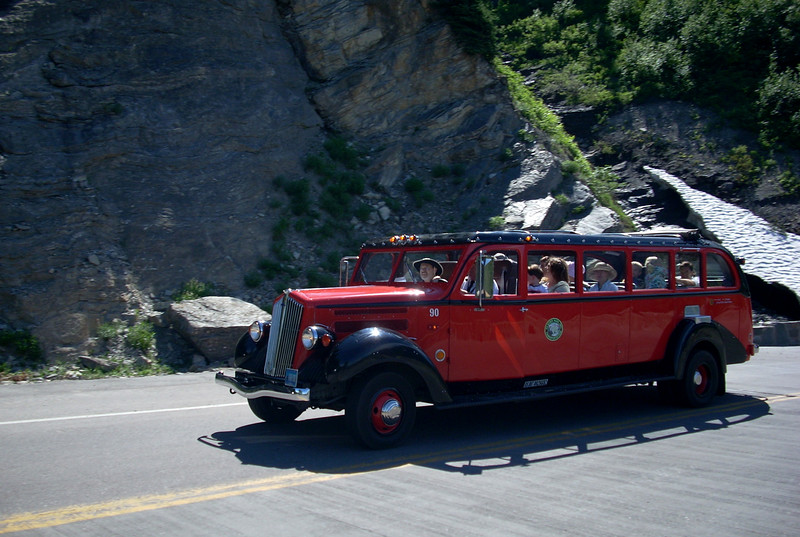 the Red Jammers have been shuttling tourists in Glacier for over 50 years