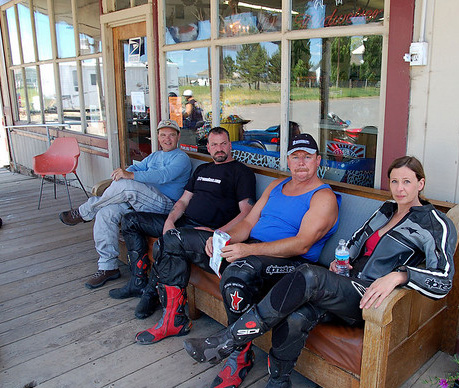 """Some of the """"gang"""" taking a break in Paulina - left to right - Cecil Brandon, Rick, and Theresa"""