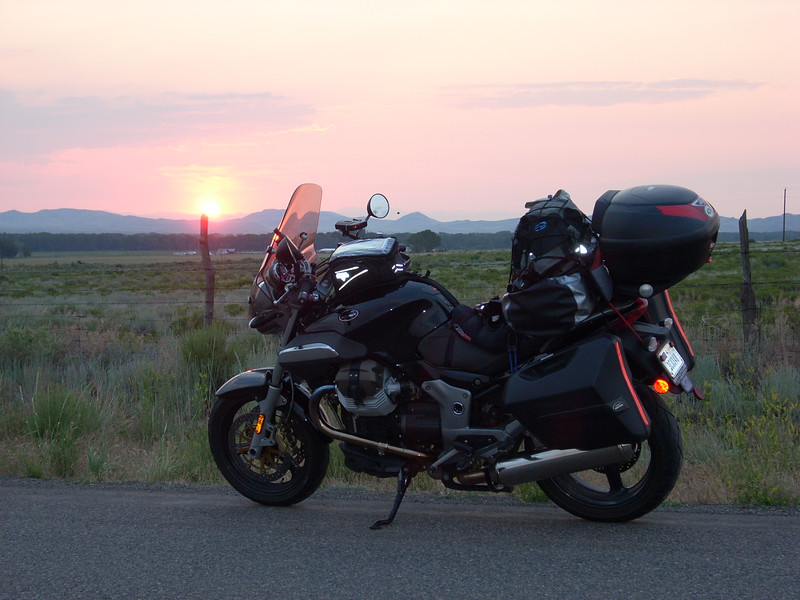Heading home, after two weeks on thee road , sunrise in South fork CO, 1000+ miles to go, 42 degrees, up to 103 degrees the same afternoon in Texas - arrival at midnight....