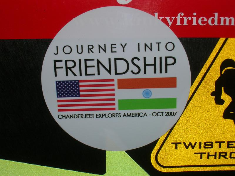 The official Chanderjeet U.S. Tour sticker