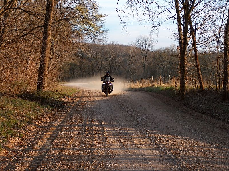 Honz and I finished out the weekend on this freshly graded gravel road, just South of Saint Genevieve. I have TKC80s and the pucker factor was really high for me, yet Honz kept right up with his bald and gashed up Anekees. This pic was taken at the official end of our ride. Afterward we jumped on the Interstate and made a mad dash for home.<br /> <br /> BTW<br /> <br /> We rode over 1000 miles and hardly saw a car. I can count on my hand how many cars we had to pass. What a fantastic weekend! Thanks for coming along guys!