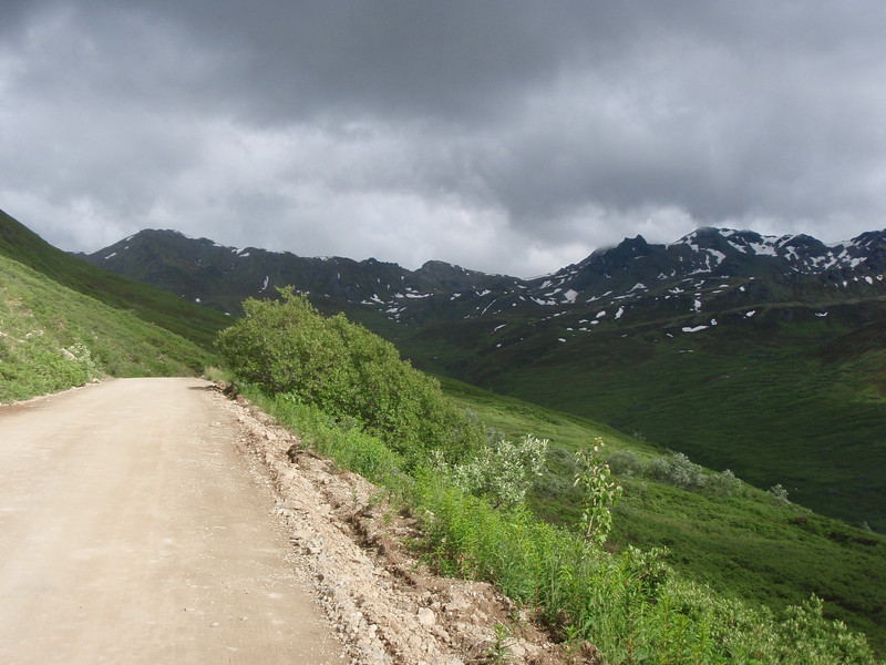 George and I rode over Hatcher Pass. Great road from Willow on the Parks Hwy to Palmer on the Glen Hwy.