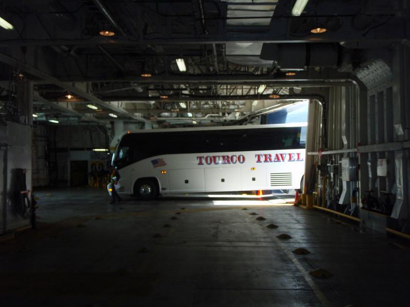 Tour bus entering the car deck of the Matanuska.