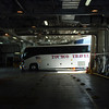 Tour bus entering the car deck of the Matanuska.