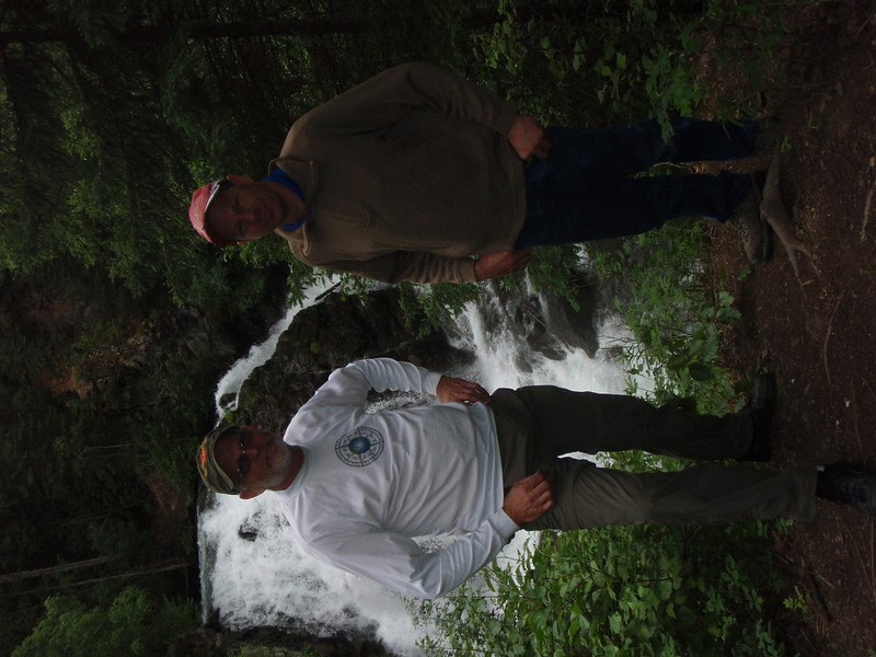 Brother George and me at at waterfall near Don and Donna's.