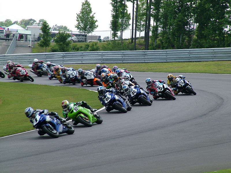 Supersport race leaders - the rest of the pack follows.