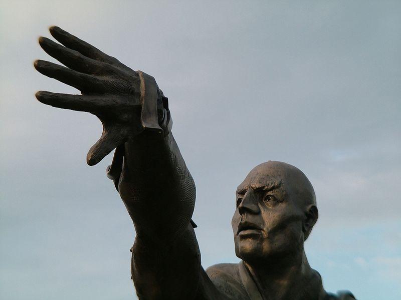 Sculpture resides in front of the Barber Vintage Motorsports Museum.