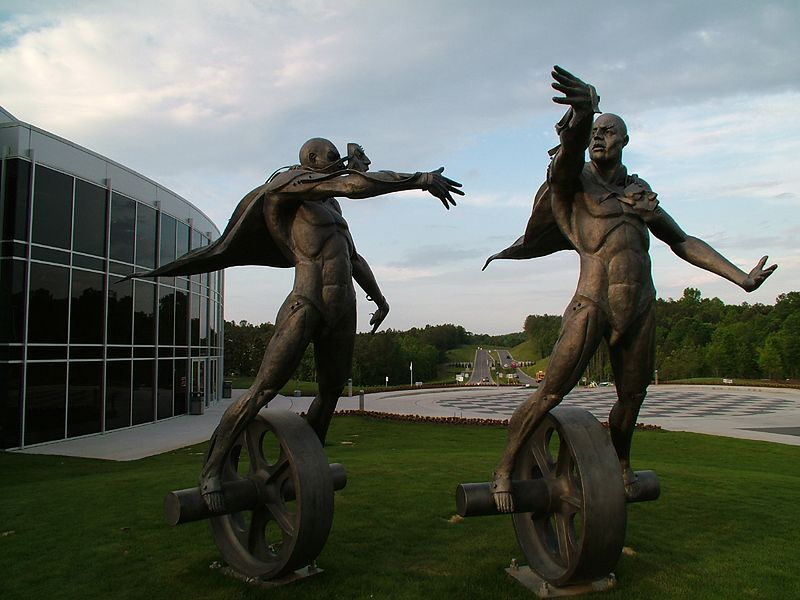 Sculpture resides in front of the Barber Motorycle Museum.
