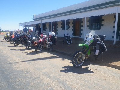 Our bikes outside the Birdsville Hotel