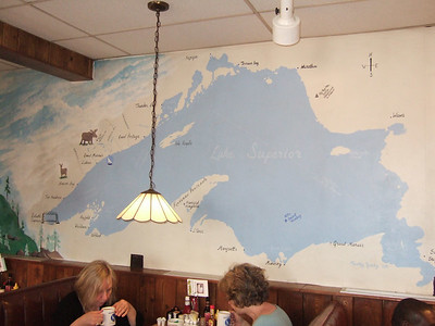 Mural in Blue Water Cafe.