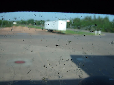 This picture is taken from the inside of my helmet at a gas station.   The bugs were so bad that we had to stop about once an hour to clean the bugs off the helmet visor.