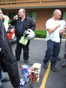 Some people can't wait to get there riding gear off before they get a beer.