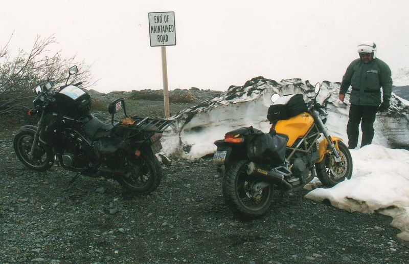 End of the road, Salmon Glacier Rd, outside Hyder, AK.