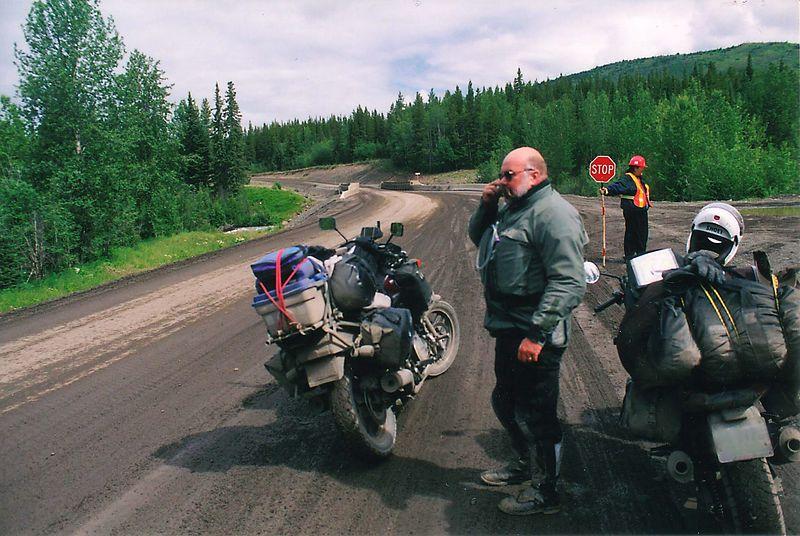 Construction, Cassiar Hwy, BC.  The road resembles wet concrete