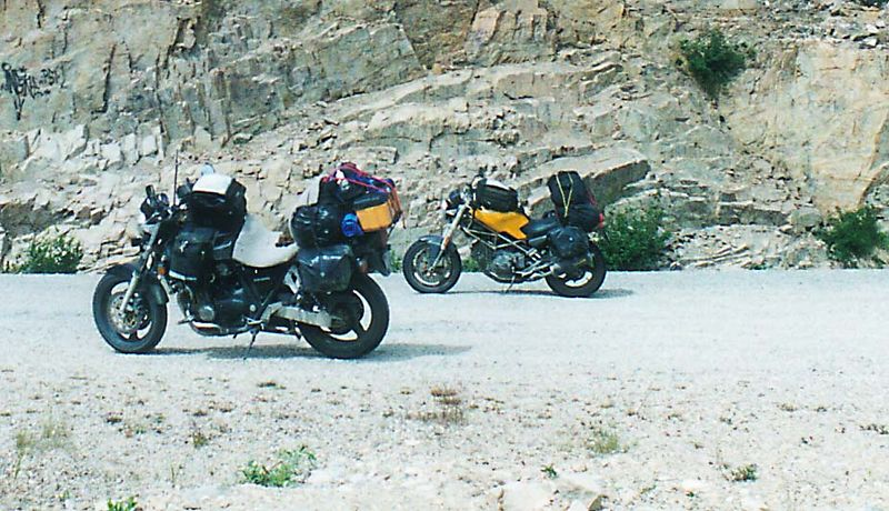 The bikes on the road to Scagway