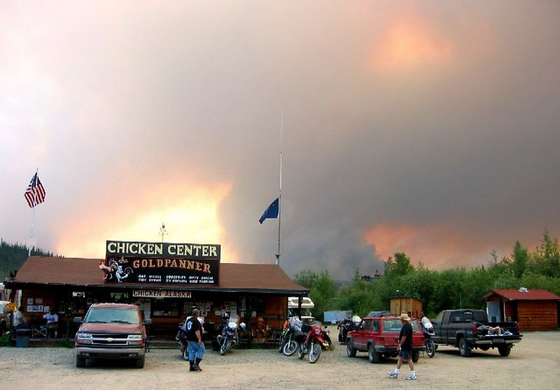 Stranded in Chicken Alaska for 13 hours by this wildfire.