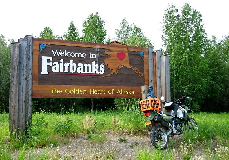 The Fairbanks welcome sign.
