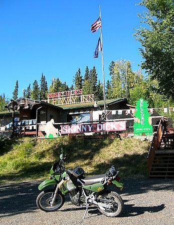 "Skinny Dick's Halfway Inn.  It's an inn...it's halfway between Fairbanks and Nenana...it was started by Richard...he is 5'-9"" and 110lbs."