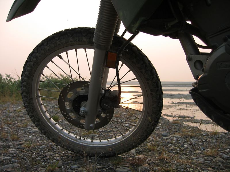 3am along the Sagavanirktok river.  Look closely on the front tire and you can see mosquitos.