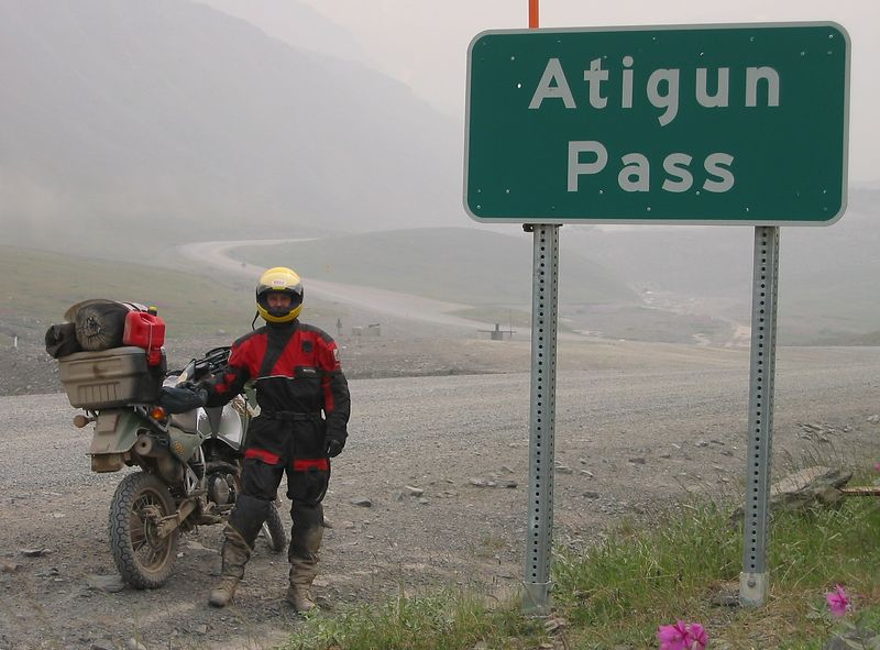 Just before going up Atigun Pass from the North.  Just prior to this picture I tripped while running back to the bike and badly sprained my right thumb and wrist.  Just a reminder that I'm waaaay out on my own and a serious injury can be very bad.  Bike getting more dirty.