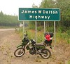 July 4, 2004 weekend.  This is the end of the paved road out of Fairbanks.  To the north is the Arctic and to the left is the Elliot Highway and Manley.  Note how clean the KLR is.