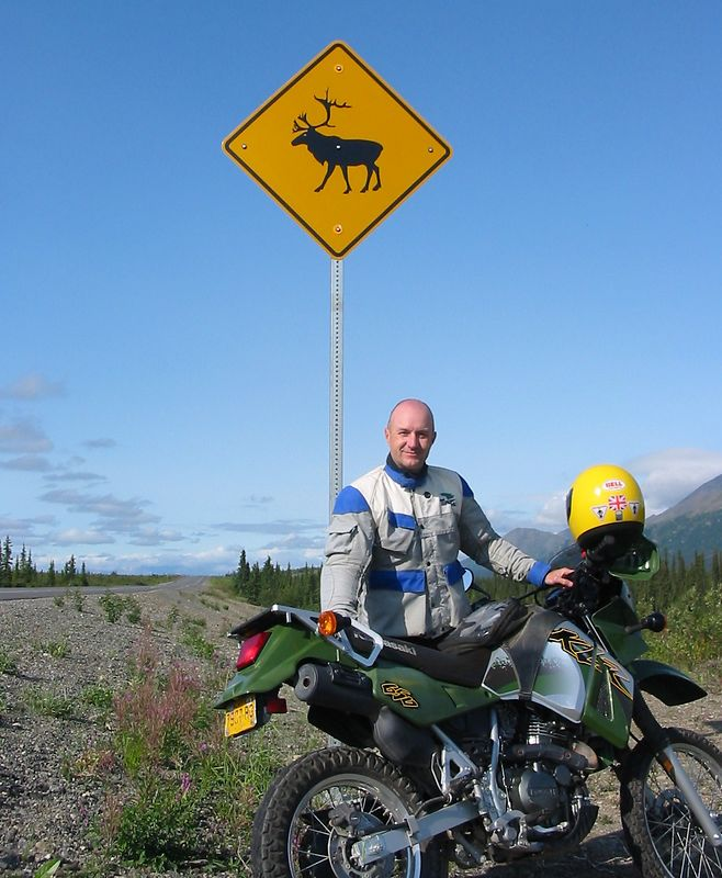 Caribou warning sign on the Park's Highway just south of Cantwell.