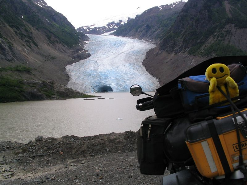 Mr. Happy Puppet, Bear Glacier on the road to Hyder