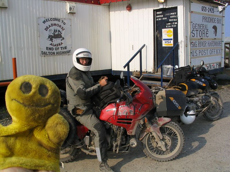 Mr. Happy Puppet and friend in Deadhorse