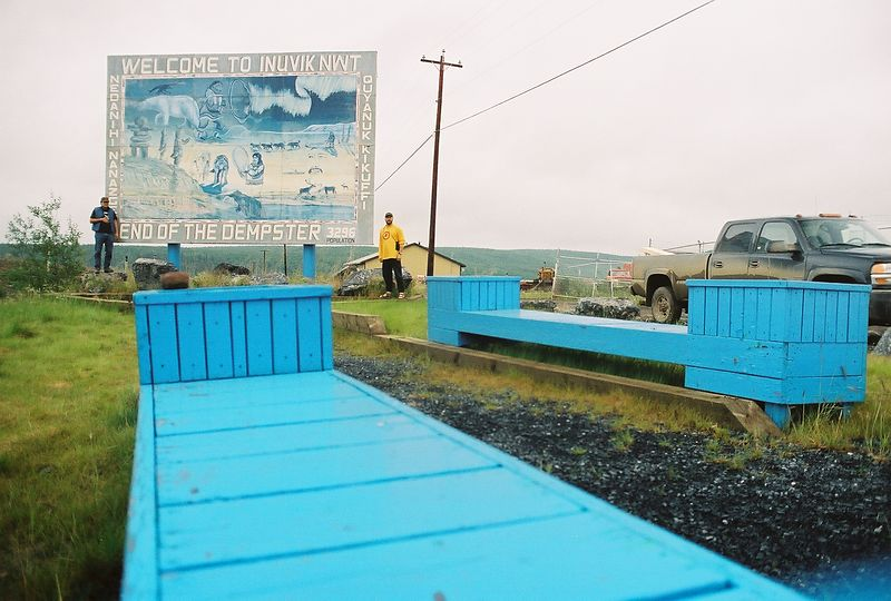 Inuvike Welcome sign, leaving Inuvik.  Day 15