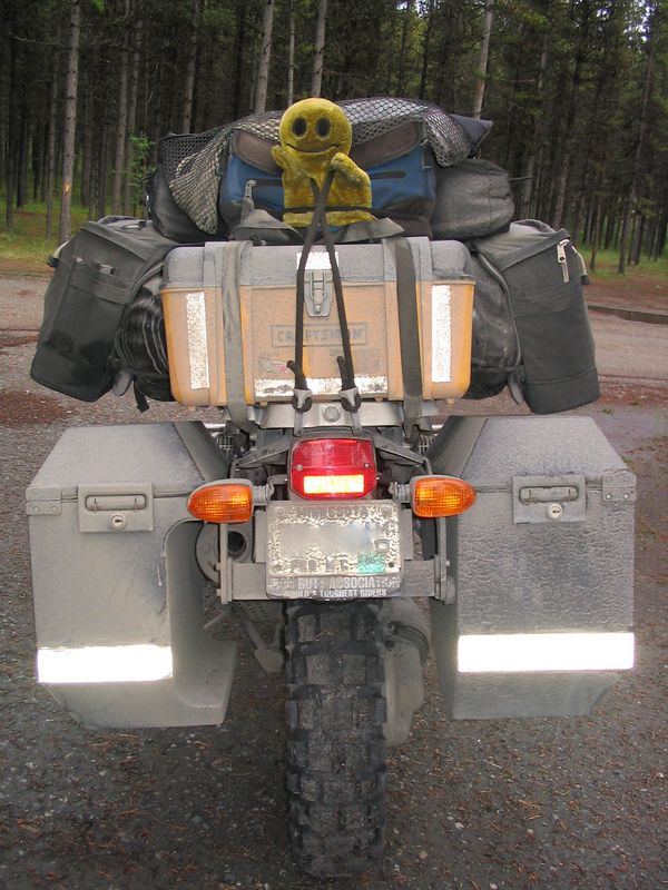 Mr. Happy Puppet somewhere along the Cassiar Hwy. south of Dease Lake, Campsite #5.