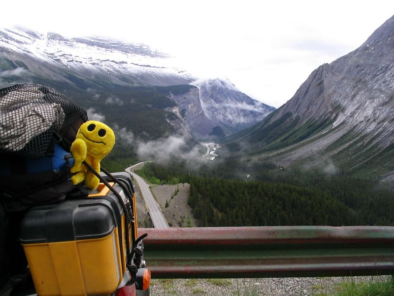Mr. Happy Puppet at Scenic Overlook Banff National Park
