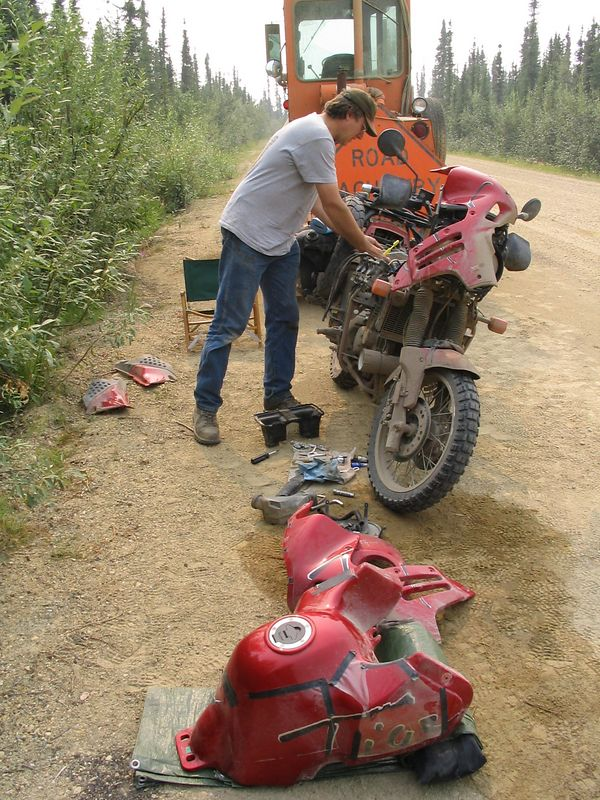 Air filter cleaning, 20 miles north of Fairbanks