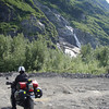 We stopped at a waterfall next to the glacier it was impressive in person....really