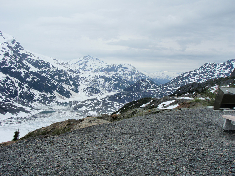 To the right of the glacier