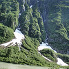 Waterfalls and snow on the ground