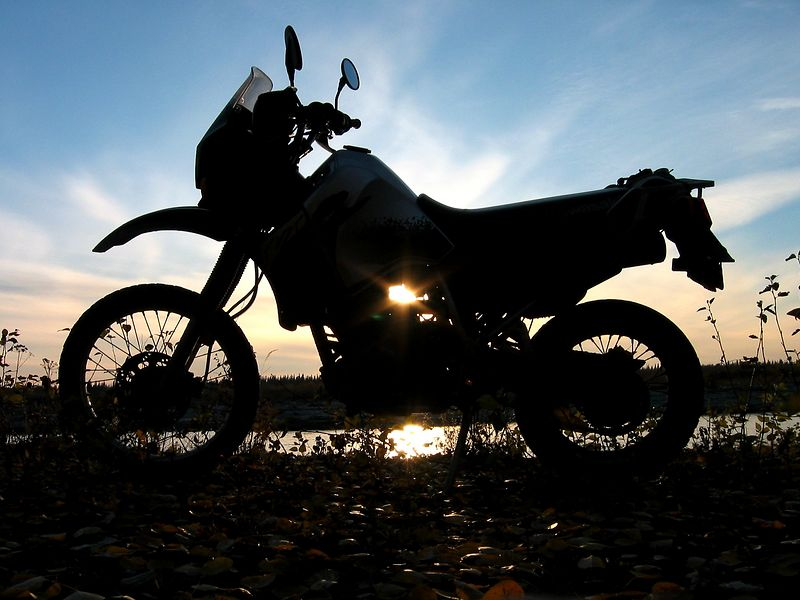 Sunset and the KLR at the Nenana River.  Personally one of my favorites.