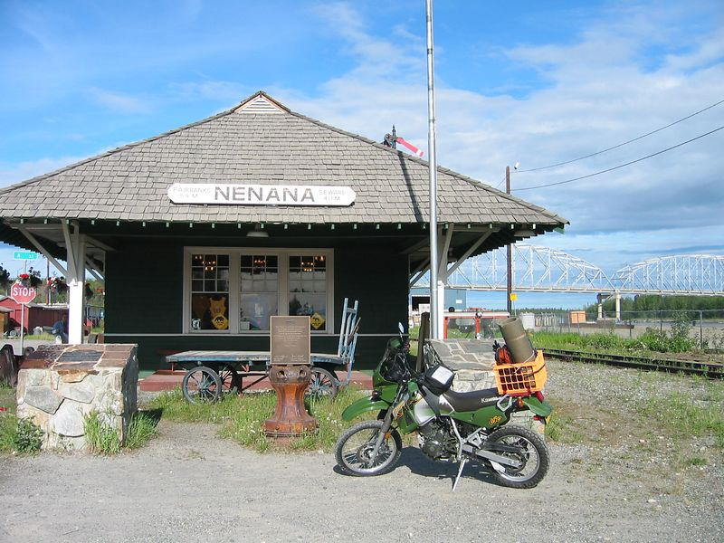 Nenana Rail station.  This was the end of the railroad when Nome was stricken with diptheria.  It was here the train dropped off the serum that began it's trek by dog sled team that is the genisis of the Iditarod.