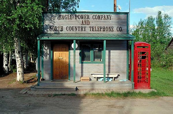 The Eagle, Alaska Telephone Company.  Eagle is one of the most remote villages accessible by road and is on the Yukon River.