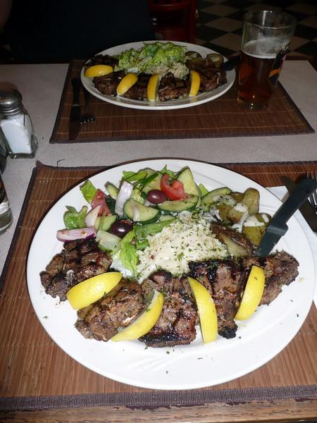 Lamb chops at the Greek restaurant - Delicious!!