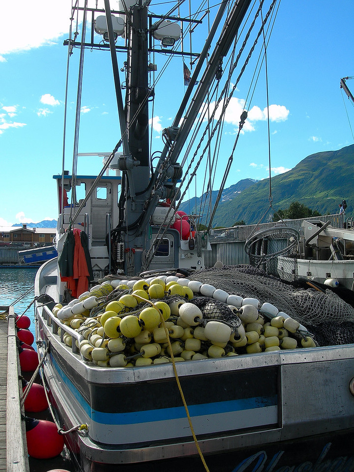 That evening, a fishing boat in the Valdez port/marina.