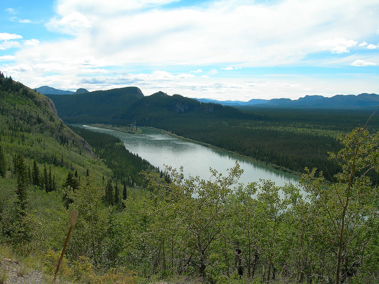 First sight of the Yukon River, which was originally the major transportation route within the Yukon Territory.