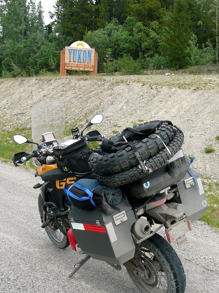 Entering the Yukon, on the Cassier Highway