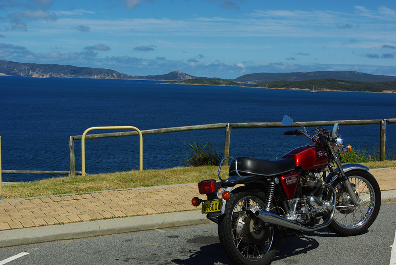 My Commando at Albany, WA, in a rare patch of sunshine.