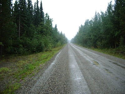 The Campbell Highway in the rain... The fastest gravel road I've ever been on.