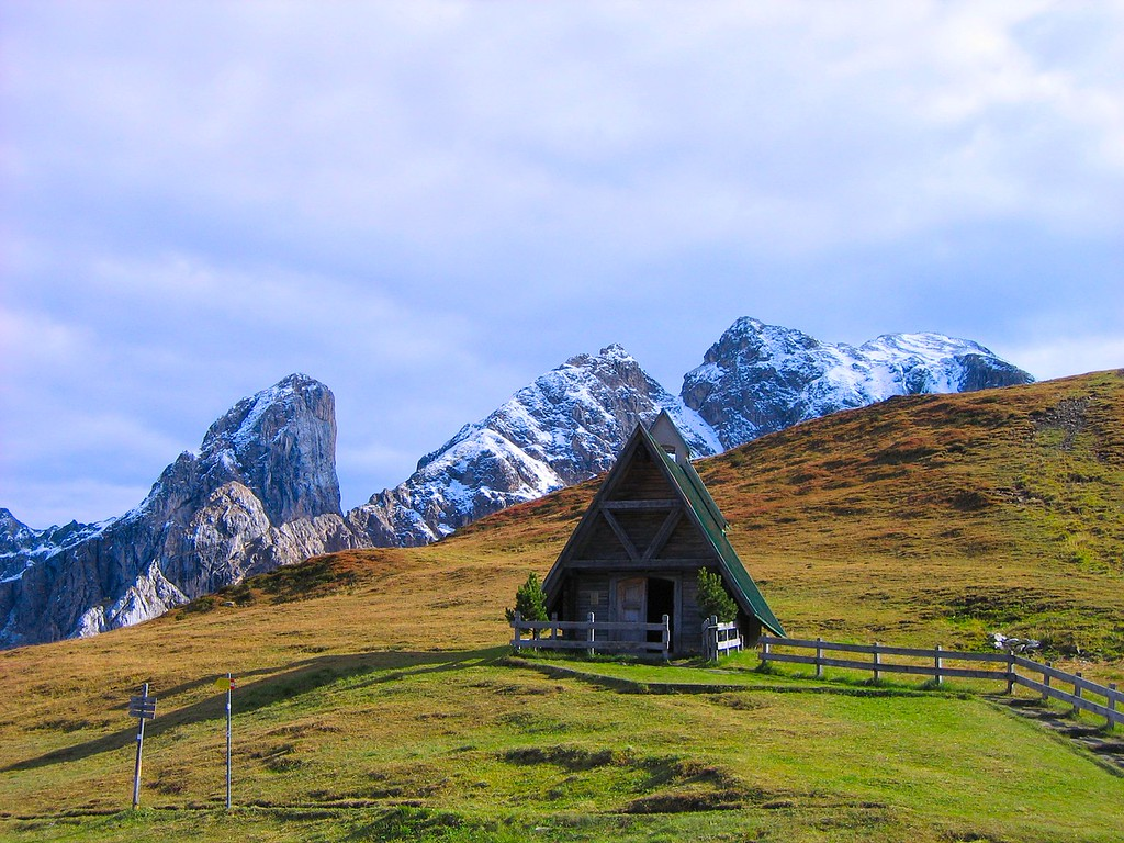 This little chapel is at the top of the Passo di Giau across from the Refugio, Dolomites, Italy