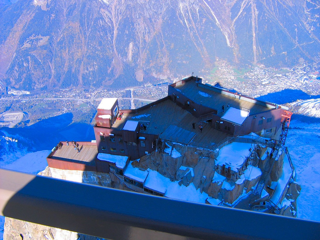 The main viewing platform and top cable car station, Aiguille du Midi, Mont Blanc France