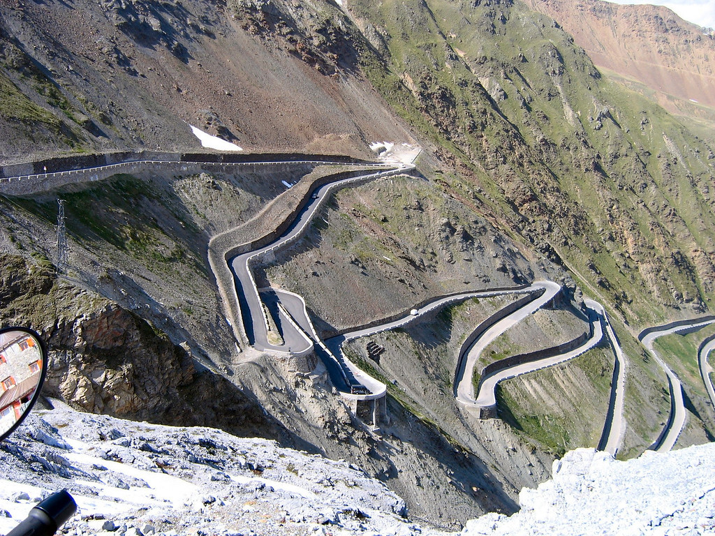 Some of the 48 switchbacks near the top of the Stelvio Pass #3 highest pass - Italy