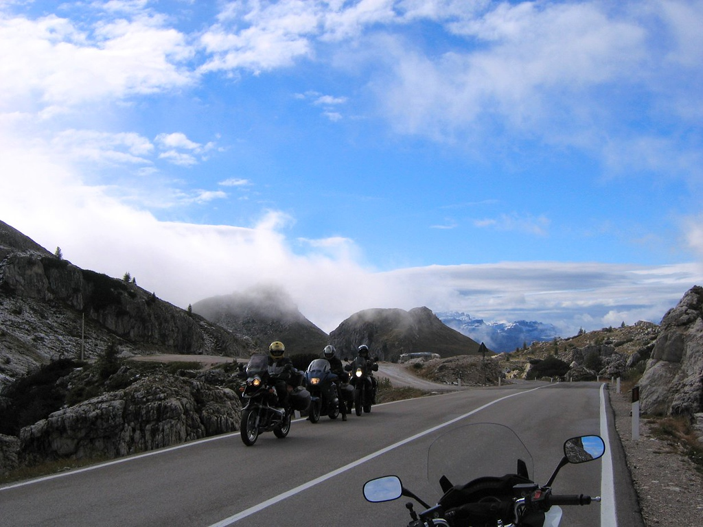 Some friendly Germans coming from the western direction on the Passo di Valparola, Dolomites Italy